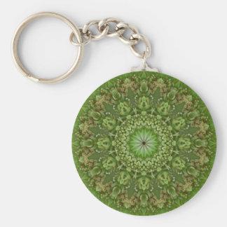 Green Anemone Mandala 7 Basic Round Button Key Ring