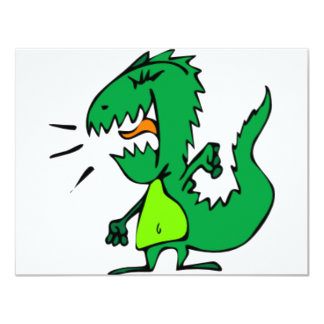 Green Angry Dinosaur Personalized Invitation