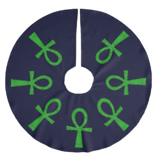 Green Ankh Brushed Polyester Tree Skirt