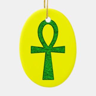 Green Ankh Christmas Ornament