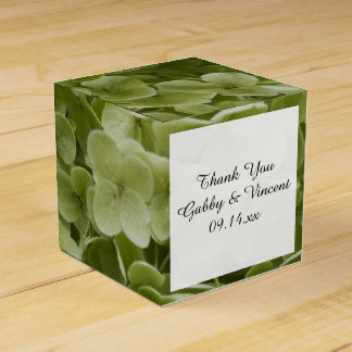 Green Annabelle Hydrangea Floral Wedding Favour Box