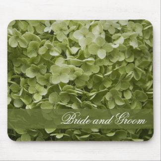 Green Annabelle Hydrangea Floral Wedding Mouse Mat