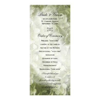 Green Annabelle Hydrangea Floral Wedding Program Rack Card