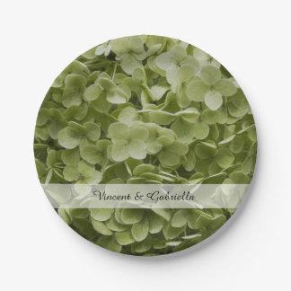 Green Annabelle Hydrangea Flowers Wedding Paper Plate