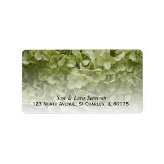Green Annabelle Hydrangea Return Address Label
