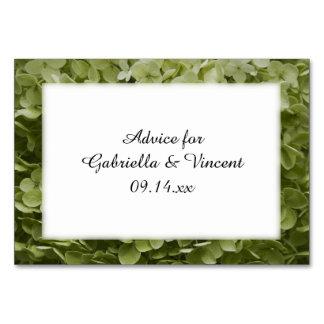 Green Annabelle Hydrangea Wedding Advice Cards