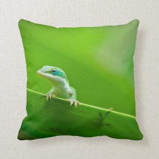 Green Anole Lizard Encounter Cushion