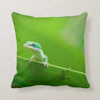 Green Anole Lizard Encounter Throw Pillow