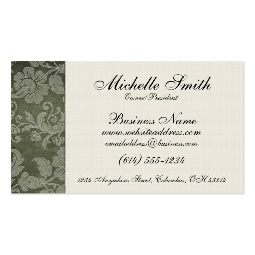 Green Antique Floral Side Bar Business Cards