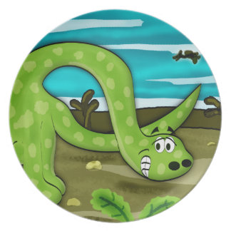 Green Apatosaurus Dinosaur Plate