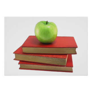 Green Apple and Red Books Poster