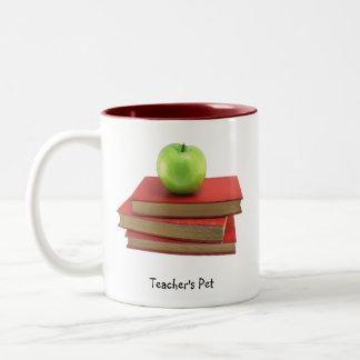 Green Apple and Red Books Teacher's Pet Drinkware Two-Tone Mug