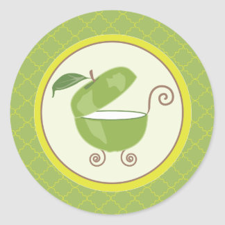 Green Apple Baby Carriage Envelope/Favor Sticker