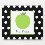 Green Apple / Black With White Polka Dots Mouse Pad
