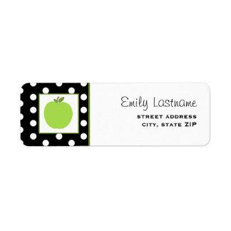 Green Apple / Black With White Polka Dots Return Address Label
