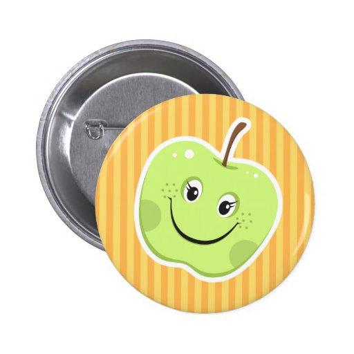 Green apple cartoon character button
