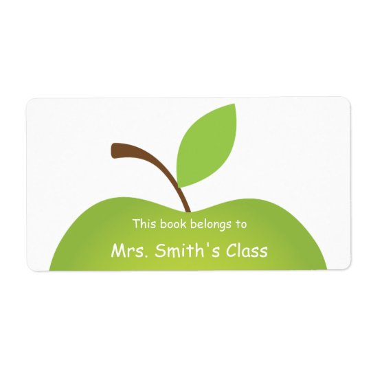 Green Apple Classroom Book Plate Shipping Label