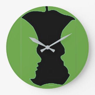 Green Apple Figure-Ground Photo Large Clock