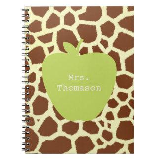 Green Apple Giraffe Teacher Note Books
