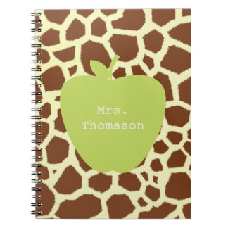 Green Apple Giraffe Teacher Notebooks