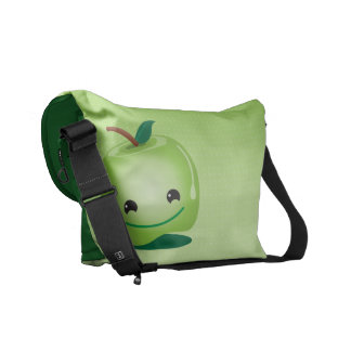 Green apple healthy so cute! messenger bag