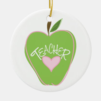 Green Apple & Heart Teacher Ornament