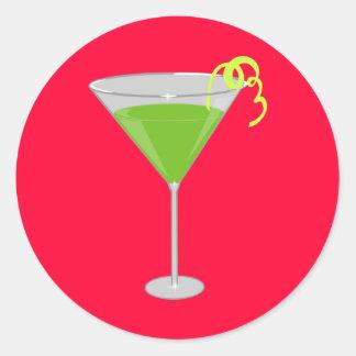Green Apple Martini Classic Round Sticker