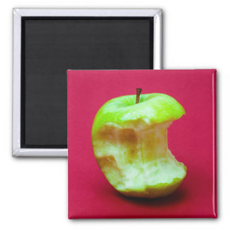 Green apple nibbled square magnet