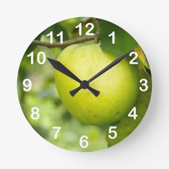 Green Apple on a Tree Branch Round Clock