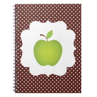 Green Apple on Brown Polka Dot Background Notebooks