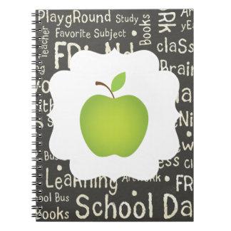 Green Apple on Chalkboard Background Spiral Notebook