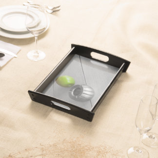 green apple on table serving tray