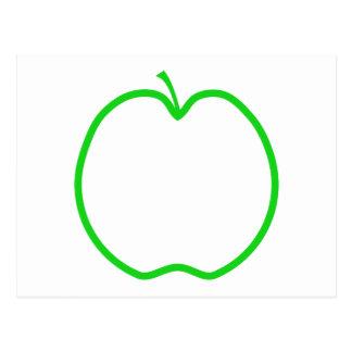 Green Apple Outline. Postcard