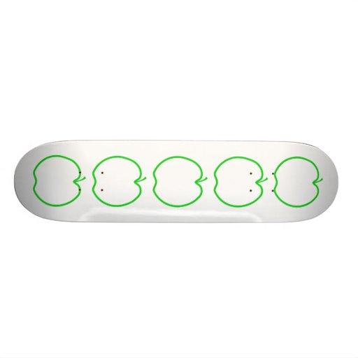 Green Apple Outline. Skate Board