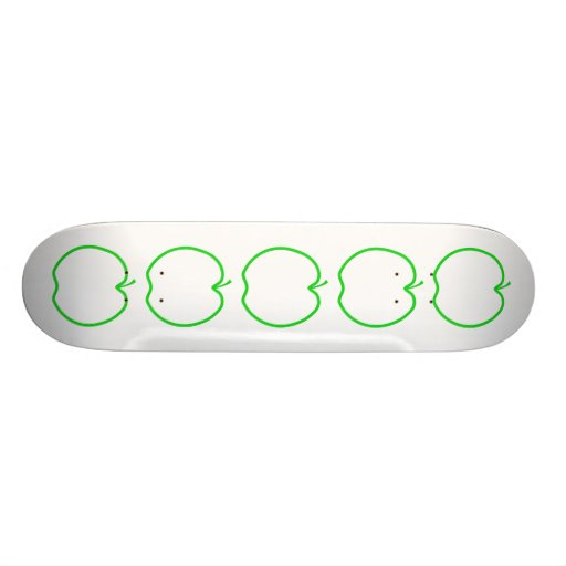 Green Apple Outline. Custom Skate Board