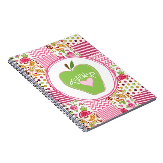 Green Apple & Patchwork Teacher Notebook