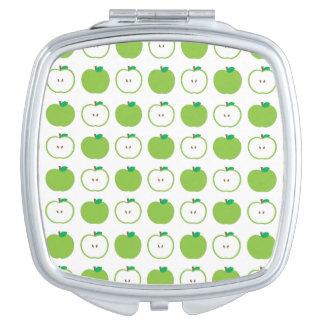 Green Apple Pattern Compact Mirror