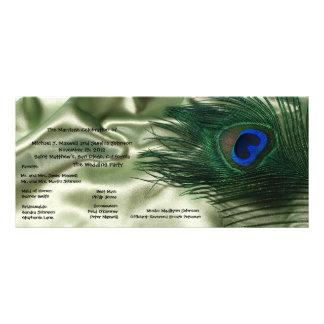 Green Apple Peacock Sill Life Wedding Program Full Color Rack Card