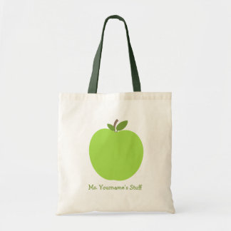 Green Apple Personalized Teacher Canvas Bag