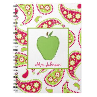Green Apple Pink & Green Paisley Teacher Notebook