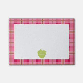 Green Apple Plaid Teacher Post-it® Notes