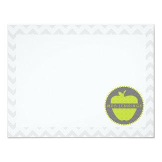 Green Apple Quatrefoil Teacher Post Its 11 Cm X 14 Cm Invitation Card