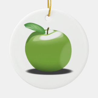 Green Apple Round Ceramic Decoration