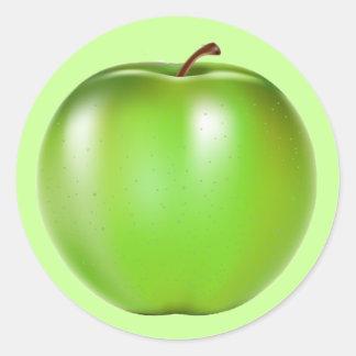 GREEN APPLE ROUND STICKER