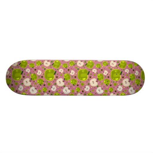 Green Apple Slices Pattern Custom Skateboard