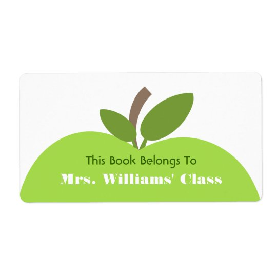 Green Apple Teacher Bookplate For Classroom Shipping Label