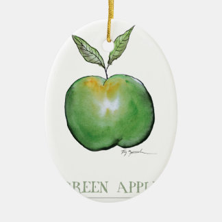 green apple, tony fernandes ceramic oval decoration