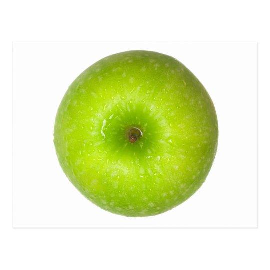 Green apple top view postcard