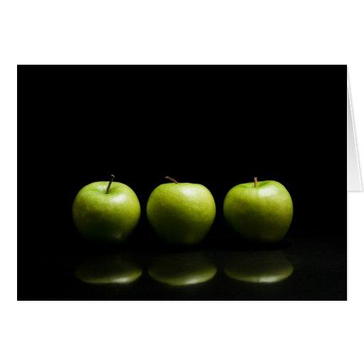 Green Apple Trio Greeting Card