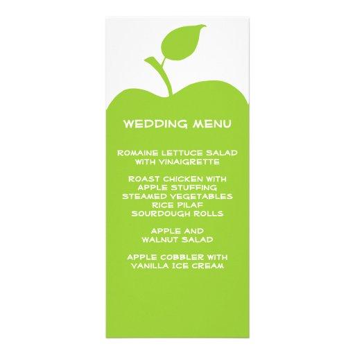 Green Apple Wedding Menu Rack Cards
